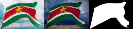 Waving flags of the world - flag of Suriname. Set of 2 flags and alpha matte image. Very high quality mask without unwanted edge. High resolution for professional composition. 3D illustration.