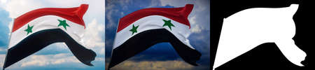Waving flags of the world - flag of Syria. Set of 2 flags and alpha matte image. Very high quality mask without unwanted edge. High resolution for professional composition. 3D illustration. Imagens