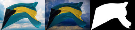 Waving flags of the world - flag of Bahamas. Set of 2 flags and alpha matte image. Very high quality mask without unwanted edge. High resolution for professional composition. 3D illustration.