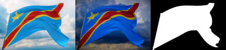 Waving flags of the world - flag of Democratic Republic of the Congo. Set of 2 flags and alpha matte image. Very high quality mask. High resolution for professional composition. 3D illustration.