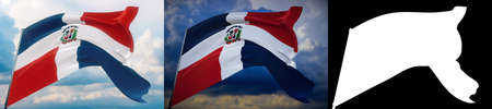 Waving flags of the world - flag of Dominican Republic. Set of 2 flags and alpha matte image. Very high quality mask. High resolution for professional composition. 3D illustration. Фото со стока