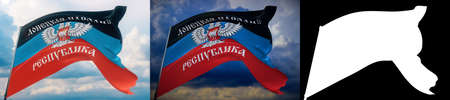 Waving flags of the world - flag of Donetsk Peoples Republic. Set of 2 flags and alpha matte image. Very high quality mask. High resolution for professional composition. 3D illustration.