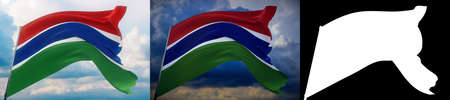 Waving flags of the world - flag of Gambia. Set of 2 flags and alpha matte image. Very high quality mask without unwanted edge. High resolution for professional composition. 3D illustration.