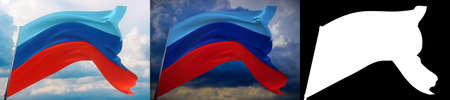 Waving flags of the world - flag of Lugansk Peoples Republic. Set of 2 flags and alpha matte image. Very high quality mask. High resolution for professional composition. 3D illustration. Imagens