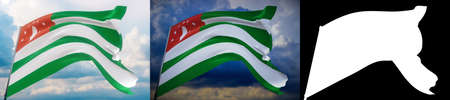 Waving flags of the world - flag of Abkhazia. Set of 2 flags and alpha matte image. Very high quality mask without unwanted edge. High resolution for professional composition. 3D illustration.