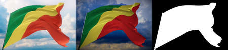 Waving flags of the world - flag of Republic of the Congo. Set of 2 flags and alpha matte image. Very high quality mask. High resolution for professional composition. 3D illustration.
