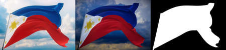 Waving flags of the world - flag of Philippines . Set of 2 flags and alpha matte image. Very high quality mask without unwanted edge. High resolution for professional composition. 3D illustration. Imagens