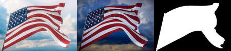 Waving flags of the world - American Flag. Set of 2 flags and alpha matte image. Very high quality mask without unwanted edge. High resolution for professional composition. 3D illustration. Фото со стока
