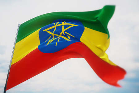 Waving flags of the world - flag of Ethiopia. Shot with a shallow depth of field, selective focus. 3D illustration.