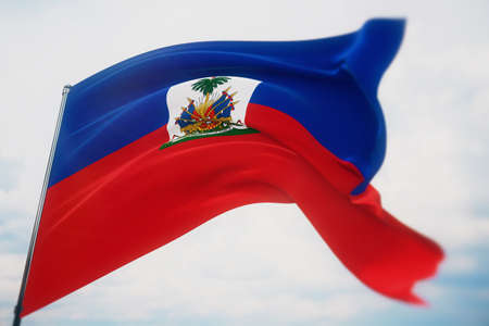Waving flags of the world - flag of Haiti. Shot with a shallow depth of field, selective focus. 3D illustration.