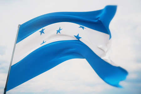 Waving flags of the world - flag of Honduras. Shot with a shallow depth of field, selective focus. 3D illustration.