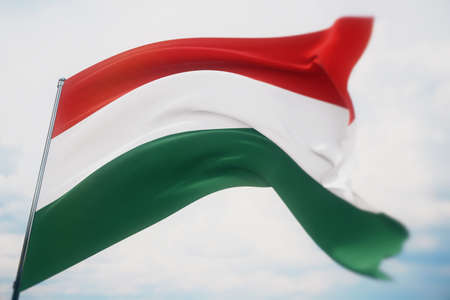 Waving flags of the world - flag of Hungary. Shot with a shallow depth of field, selective focus. 3D illustration.