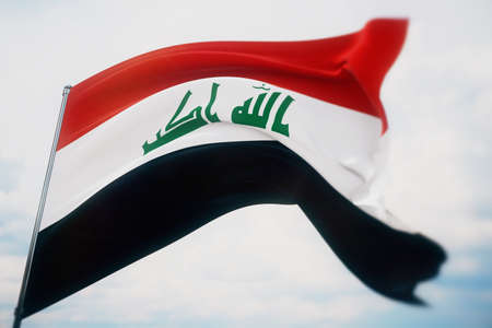 Waving flags of the world - flag of Iraq. Shot with a shallow depth of field, selective focus. 3D illustration.