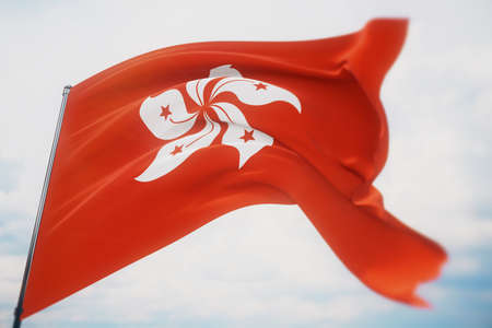 Waving flags of the world - flag of Hong Kong. Shot with a shallow depth of field, selective focus. 3D illustration.