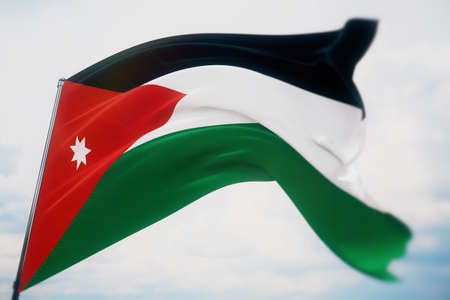 Waving flags of the world - flag of Jordan. Shot with a shallow depth of field, selective focus. 3D illustration.