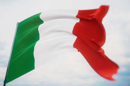 Waving flags of the world - flag of Italy. Shot with a shallow depth of field, selective focus. 3D illustration. Imagens