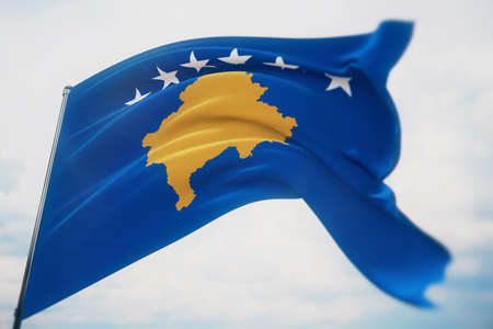 Waving flags of the world - flag of Kosovo. Shot with a shallow depth of field, selective focus. 3D illustration.