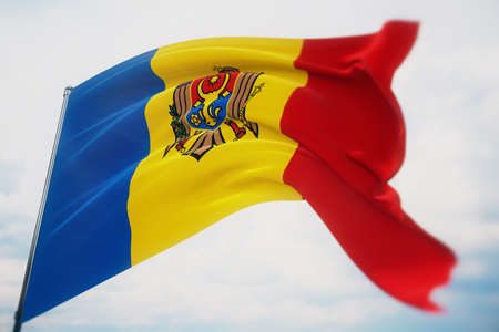 Waving flags of the world - flag of Moldova. Shot with a shallow depth of field, selective focus. 3D illustration.