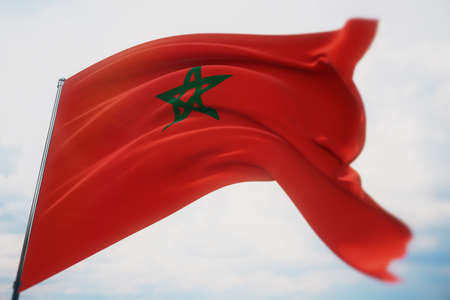 Waving flags of the world - flag of Morocco. Waved highly detailed close-up 3D render.