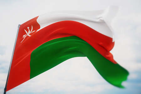 Waving flags of the world - flag of Oman. Shot with a shallow depth of field, selective focus. 3D illustration.