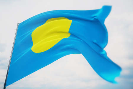 Waving flags of the world - flag of Palau. Shot with a shallow depth of field, selective focus. 3D illustration.