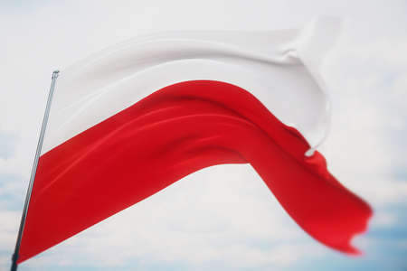 Waving flags of the world - flag of Poland. Shot with a shallow depth of field, selective focus. 3D illustration.