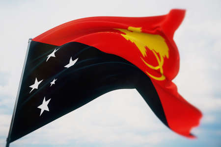 Waving flags of the world - flag of Papua New Guinea. Shot with a shallow depth of field, selective focus. 3D illustration.