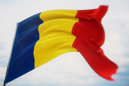 Waving flags of the world - flag of Romania. Shot with a shallow depth of field, selective focus. 3D illustration. Imagens