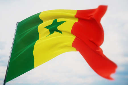 Waving flags of the world - flag of Senegal. Shot with a shallow depth of field, selective focus. 3D illustration.