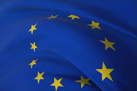 Waving flags of the world - Official EU flag. European Union Flag. Closeup view, 3D illustration.