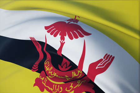 Waving flags of the world - flag of Brunei. Closeup view, 3D illustration.