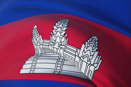 Waving flags of the world - flag of Cambodia. Closeup view, 3D illustration.