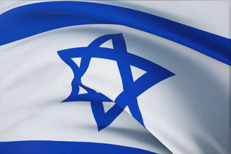 Waving flags of the world - flag of Israel. Closeup view, 3D illustration.