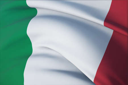 Waving flags of the world - flag of Italy. Closeup view, 3D illustration. 免版税图像