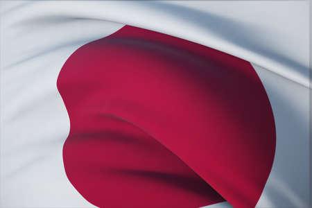 Waving flags of the world - flag of Japan. Closeup view, 3D illustration. 免版税图像