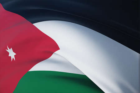 Waving flags of the world - flag of Jordan. Closeup view, 3D illustration.