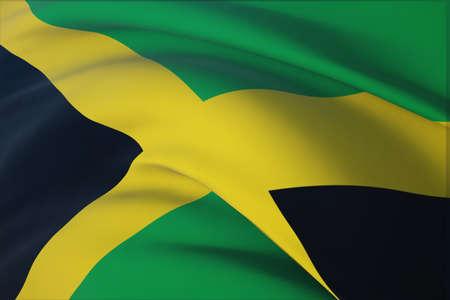 Waving flags of the world - flag of Jamaica. Closeup view, 3D illustration. 免版税图像