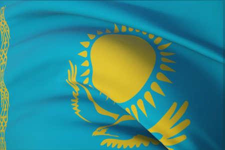 Waving flags of the world - flag of Kazakhstan. Closeup view, 3D illustration. 免版税图像