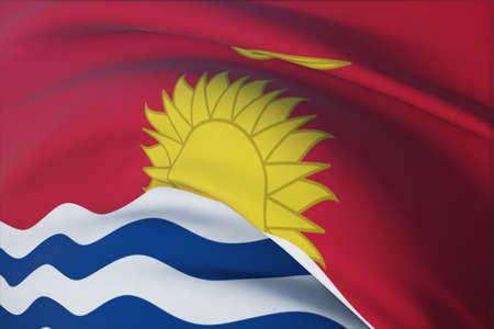 Waving flags of the world - flag of Kiribati. Closeup view, 3D illustration. 免版税图像