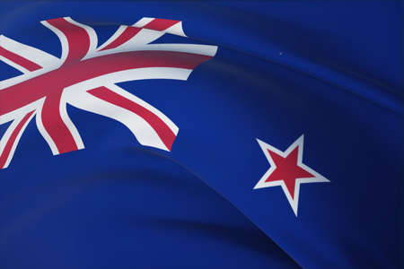 Waving flags of the world - flag of New Zealand. Closeup view, 3D illustration.