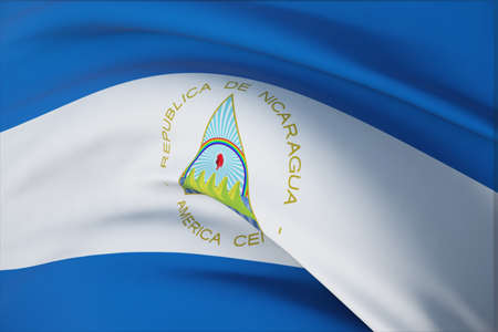 Waving flags of the world - flag of Nicaragua. Closeup view, 3D illustration.