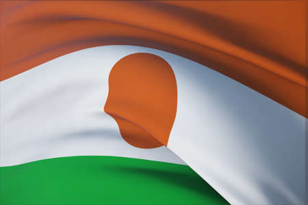 Waving flags of the world - flag of Niger. Closeup view, 3D illustration.