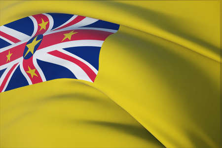 Waving flags of the world - flag of Niue. Closeup view, 3D illustration.