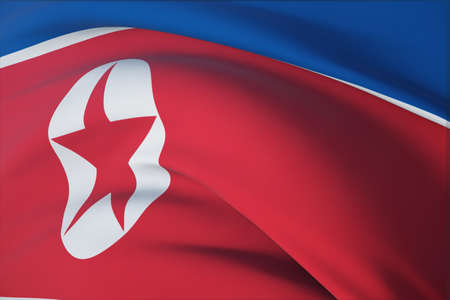 Waving flags of the world - flag of North Korea. Closeup view, 3D illustration.