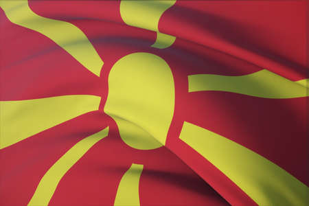 Waving flags of the world - flag of North Macedonia. Closeup view, 3D illustration.