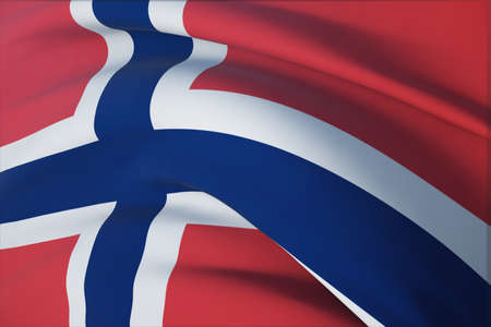 Waving flags of the world - flag of Norway. Closeup view, 3D illustration. 免版税图像