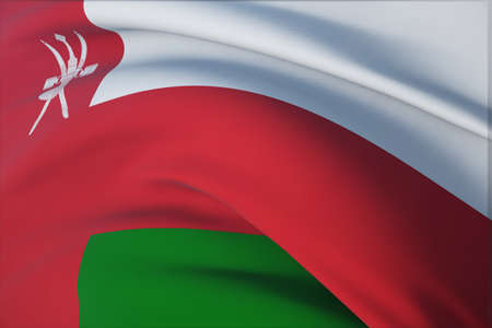Waving flags of the world - flag of Oman. Closeup view, 3D illustration.