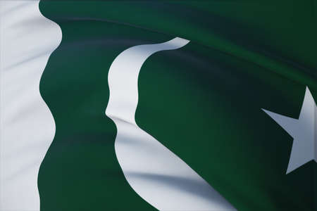 Waving flags of the world - flag of Pakistan. Closeup view, 3D illustration.