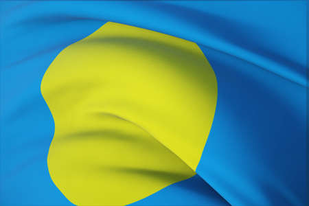 Waving flags of the world - flag of Palau. Closeup view, 3D illustration.