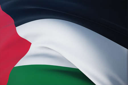 Waving flags of the world - flag of Palestine. Closeup view, 3D illustration.